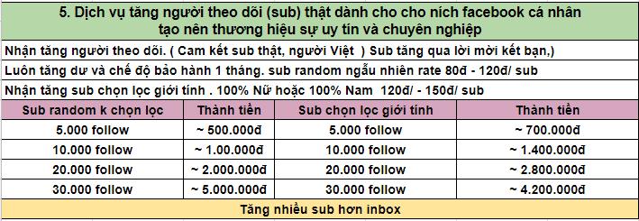 Dịch vụ tăng người theo dõi(sub) thật